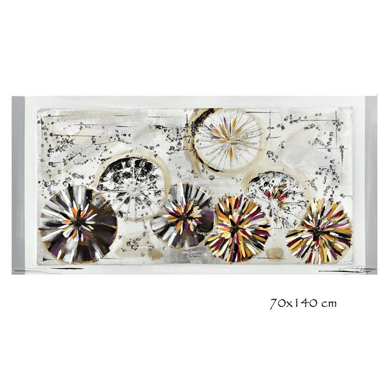 """"""" Cercles abstraits """", tableau contemporain design, 70x140 cm"""