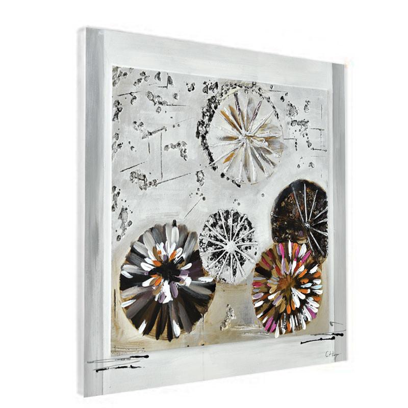 """"""" Cercles design """", Tableau contemporain abstrait, 80x80 cm"""