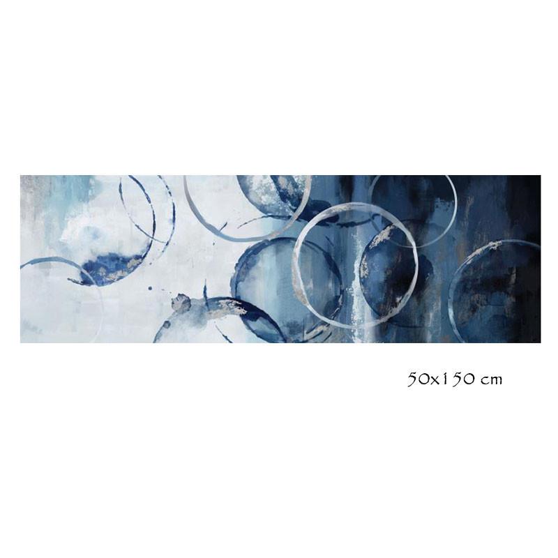 """"""" Cercles design """", tableau contemporain abstrait, 50x150 cm"""