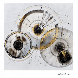 """ Cercles IRIS "", Tableau contemporain abstrait, 60x60 cm"