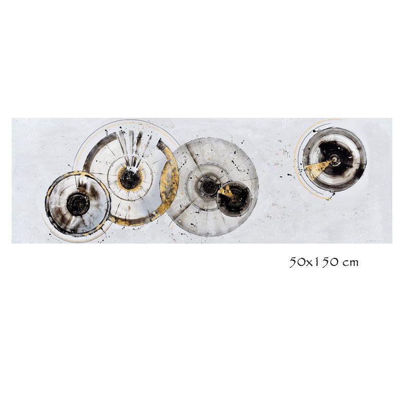 """"""" Cercles IRIS 2 """" Tableau contemporain abstrait, 50x150 cm"""