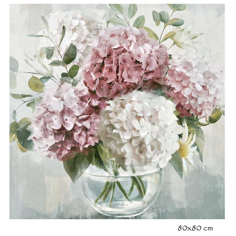 """ HORTENSIAS "", Tableau contemporain floral, 80x80 cm"