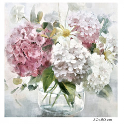 """ HORTENSIAS 2 "", Tableau contemporain floral, 80x80 cm"