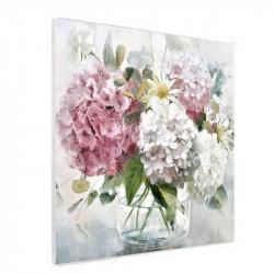 """"""" HORTENSIAS 2 """", Tableau contemporain floral, 80x80 cm"""