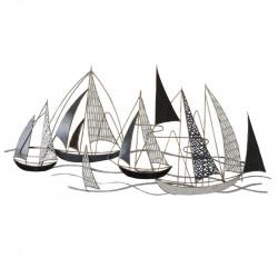 """"""" Régate, voiliers sculptés"""", déco murale métal mer"""