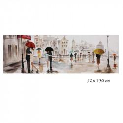 """"""" Ballade sous la pluie """", Tableau contemporain urbain"""