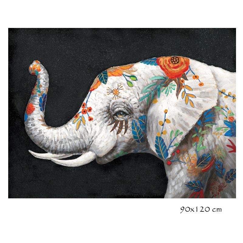 """"""" éléphant fleuri """", tableau contemporain design"""