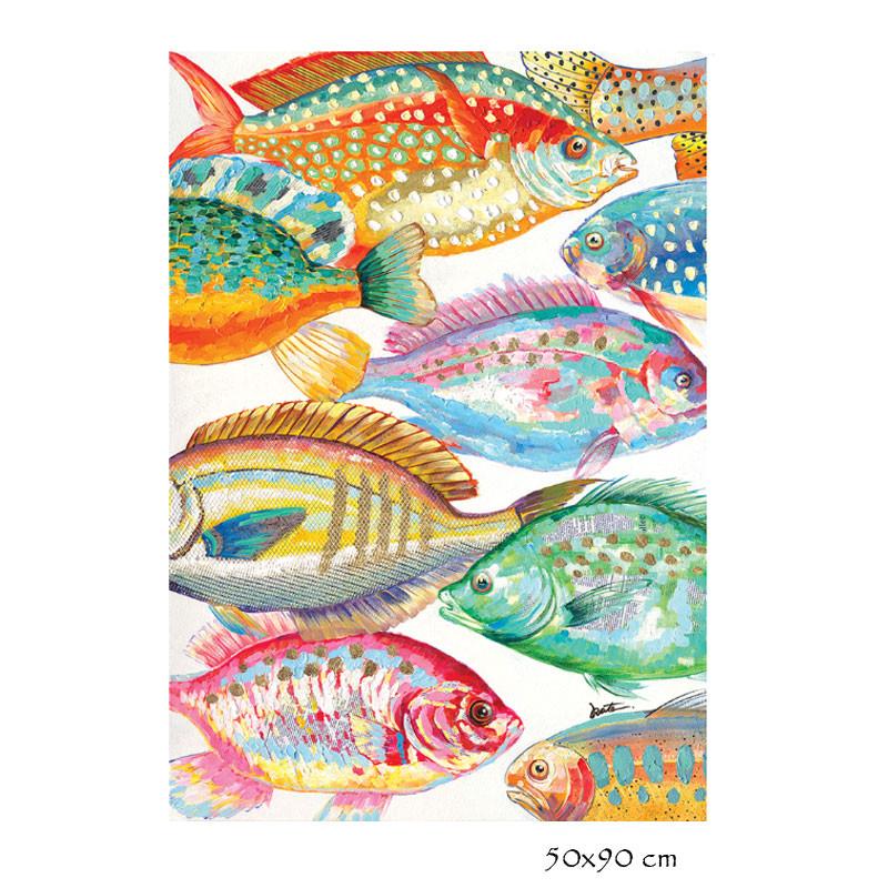 """ Poissons multicolores "", Tableau contemporain design"