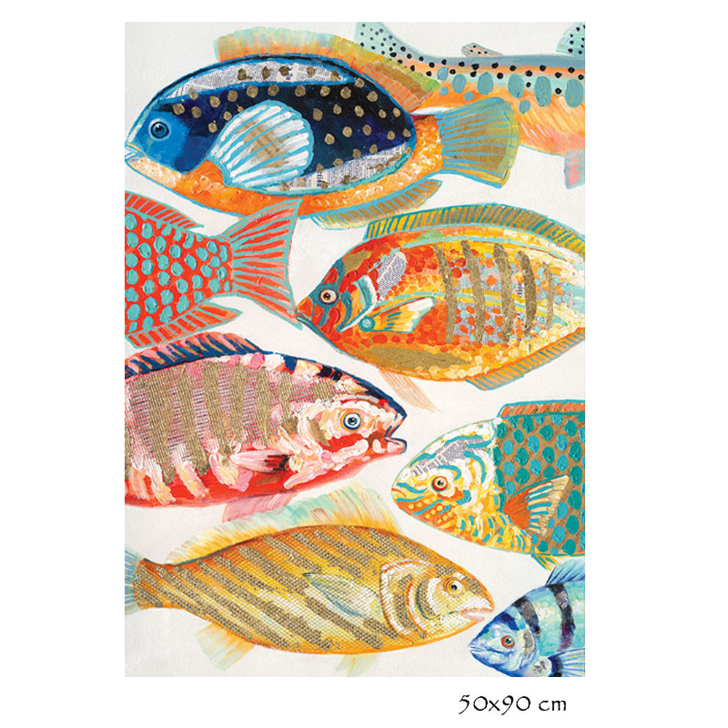 """ Poissons multicolores 2 "", Tableau contemporain design"