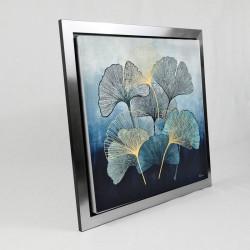 """ Feuilles de ginkgo biloba, bleu "", tableau contemporain floral"