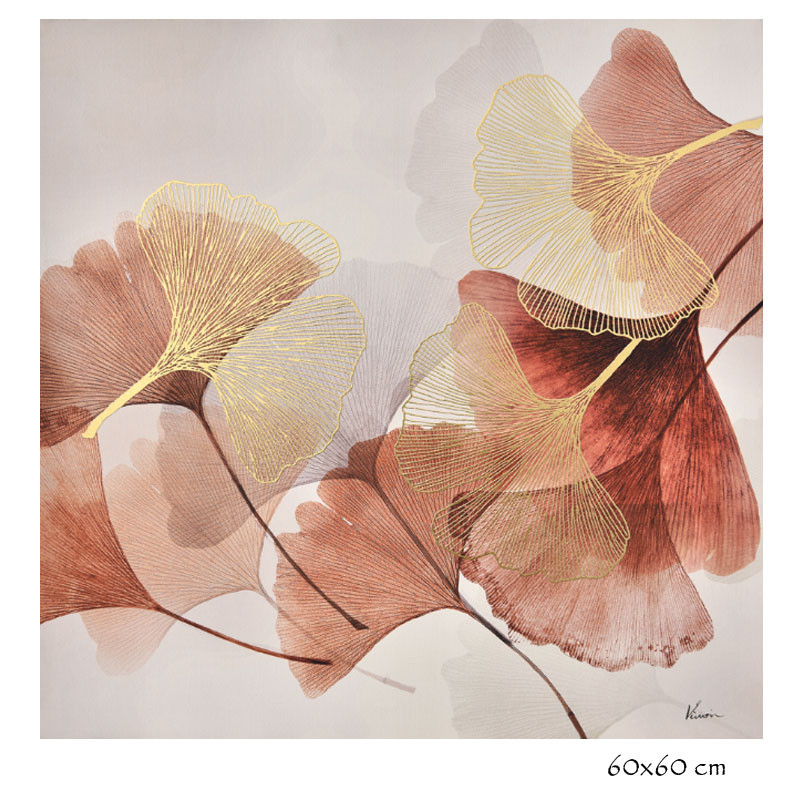 """ Feuilles de ginkgo biloba, rose "", tableau contemporain floral"