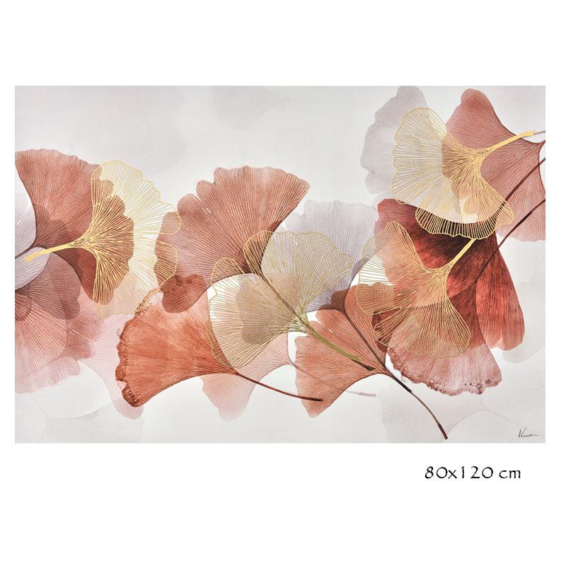 """ Feuilles de ginkgo biloba, rose 2 "", tableau contemporain floral"