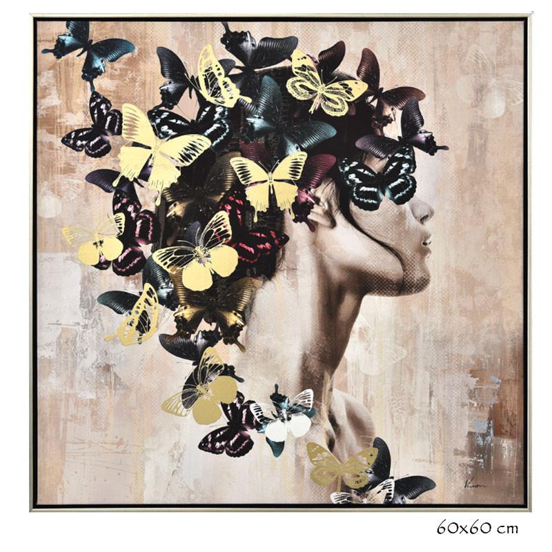 """"""" femme aux papillons """", tableau contemporain design"""