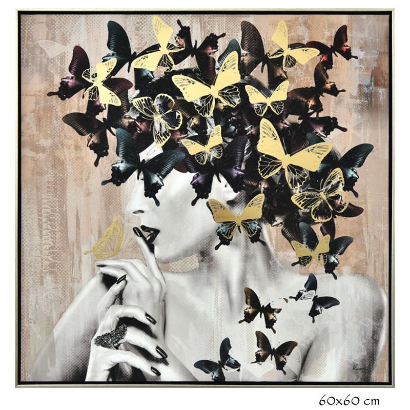 """"""" Femme aux papillons 2 """", tableau contemporain design"""