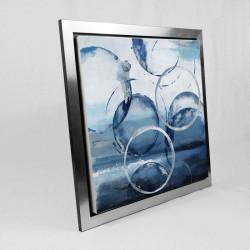""""""" Cercles bleu et argent """", Tableau contemporain abstrait, 80x80 cm"""