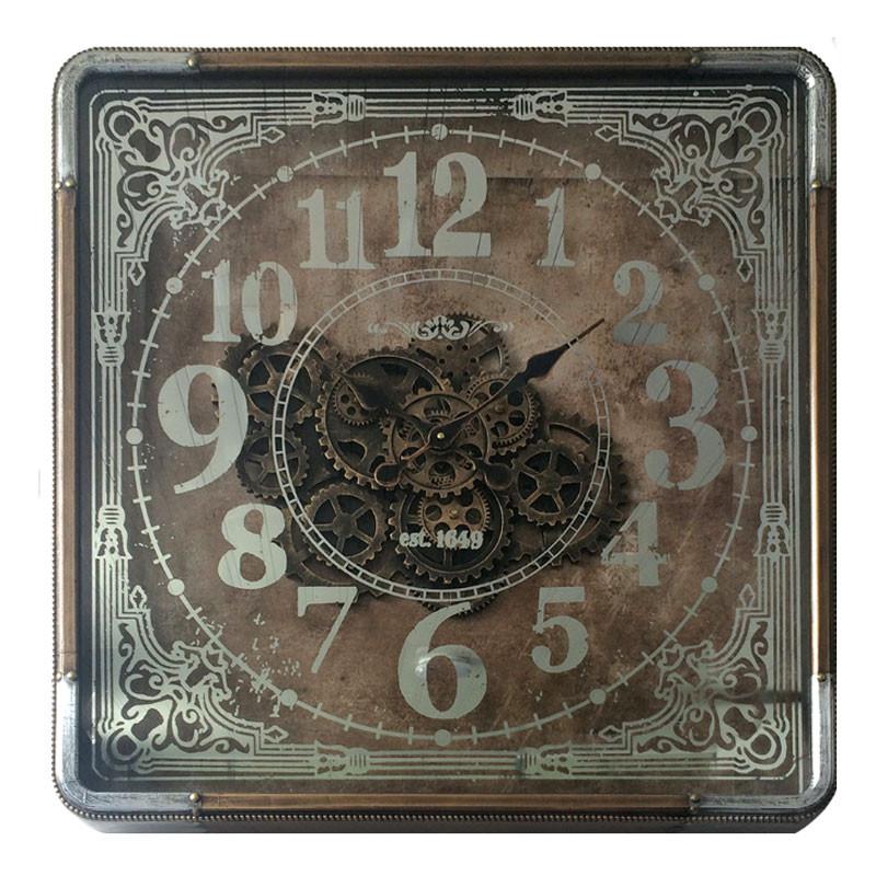 Horloge design engrenages carrée, 80x80 cm