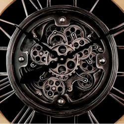 Horloge design bois et métal, véritables engrenages