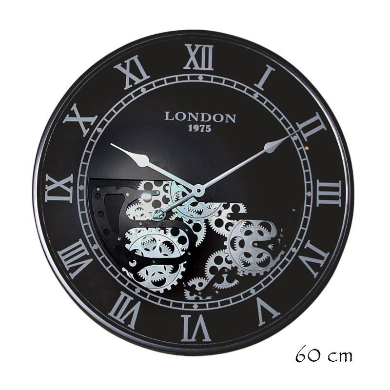 """Horloge design """" London """", 60 cm, mécanisme visible"""