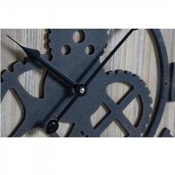 """Horloge design """" Engrenages """", bois et métal,50 cm"""