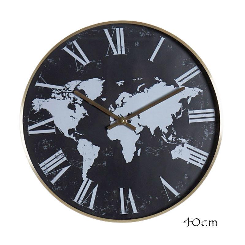 """"""" Mappemonde noire """", Horloge design déco, 40cm"""