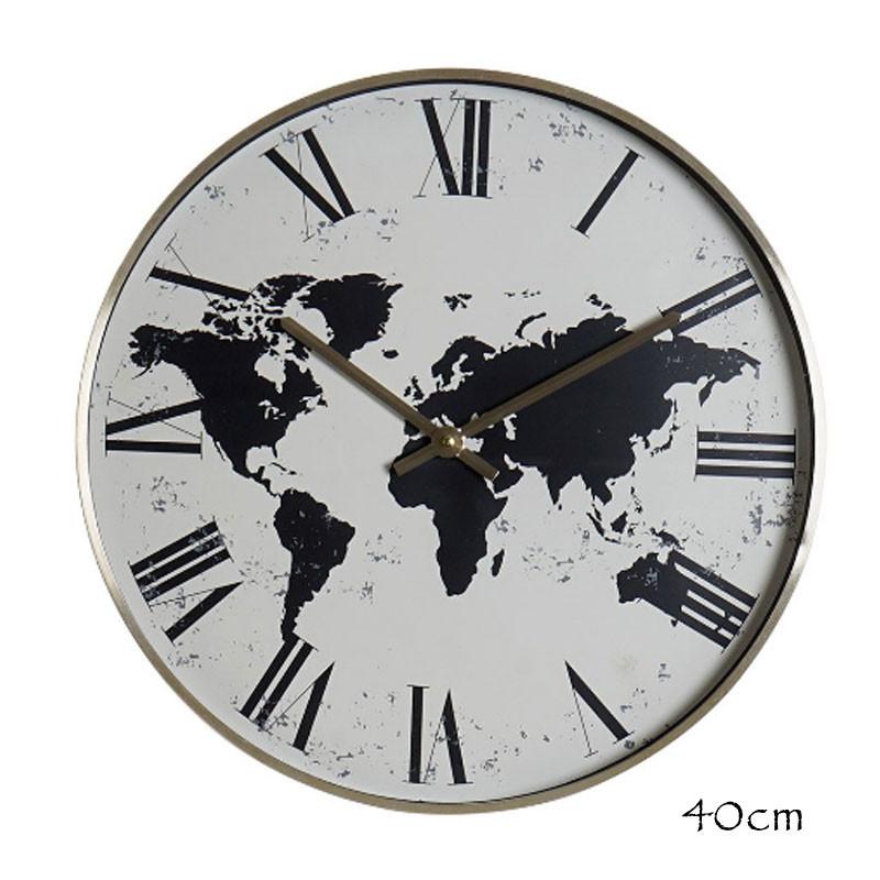 """"""" Mappemonde blanche """", Horloge design déco, 40cm"""