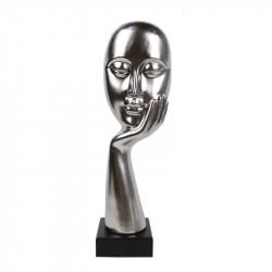 """"""" Visage rêveur argent """", statuette design"""
