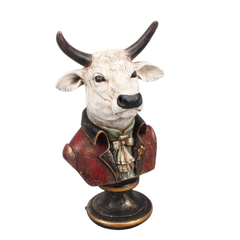 """ Buste de taureau gentleman "", statuette design"