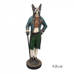 """ Bouledogue gentleman "", statuette design rétro"