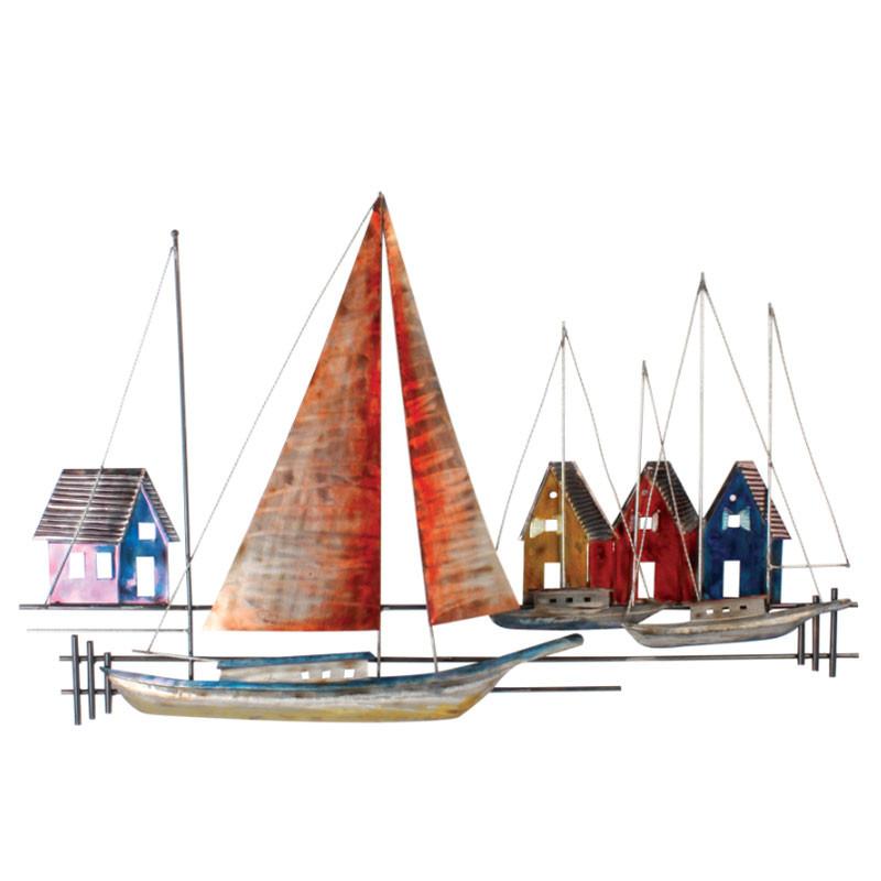""""""" Port de plaisance """", déco murale métal marine"""