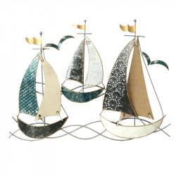 """"""" Trois voiliers """", déco murale métal marine"""