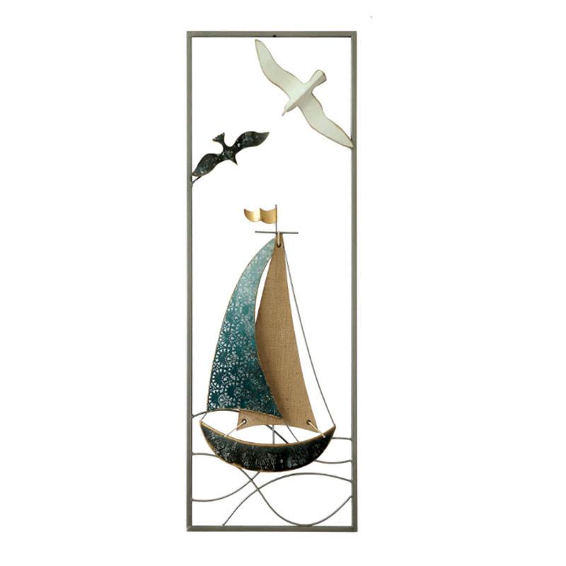 """"""" Bateau et mouettes  """", déco murale métal verticale"""
