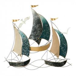 """"""" 3 voiliers en mer """", déco murale métal marine"""