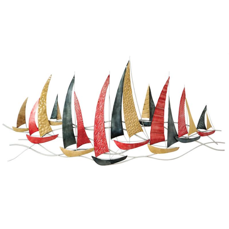 """"""" Voiliers rouges et or """", déco murale métal marine"""