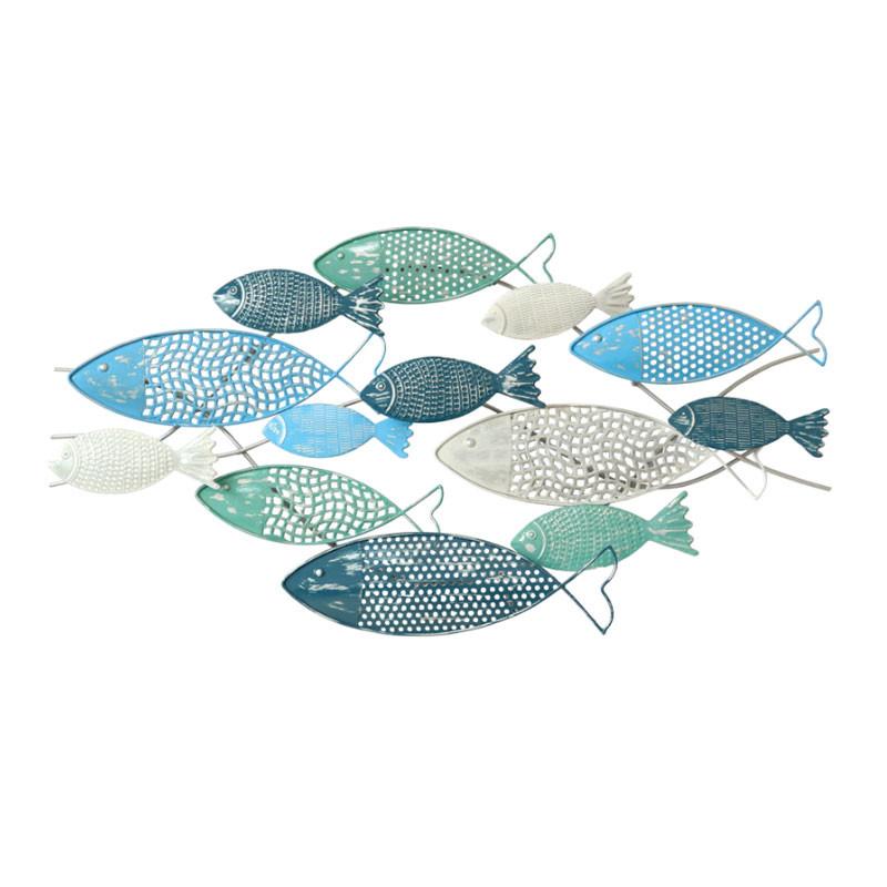 """Déco murale métal mer """"Banc de poissons bleu"""""""