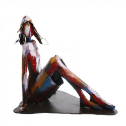 """ Femme assise métal "", sculpture design, collection pigment"