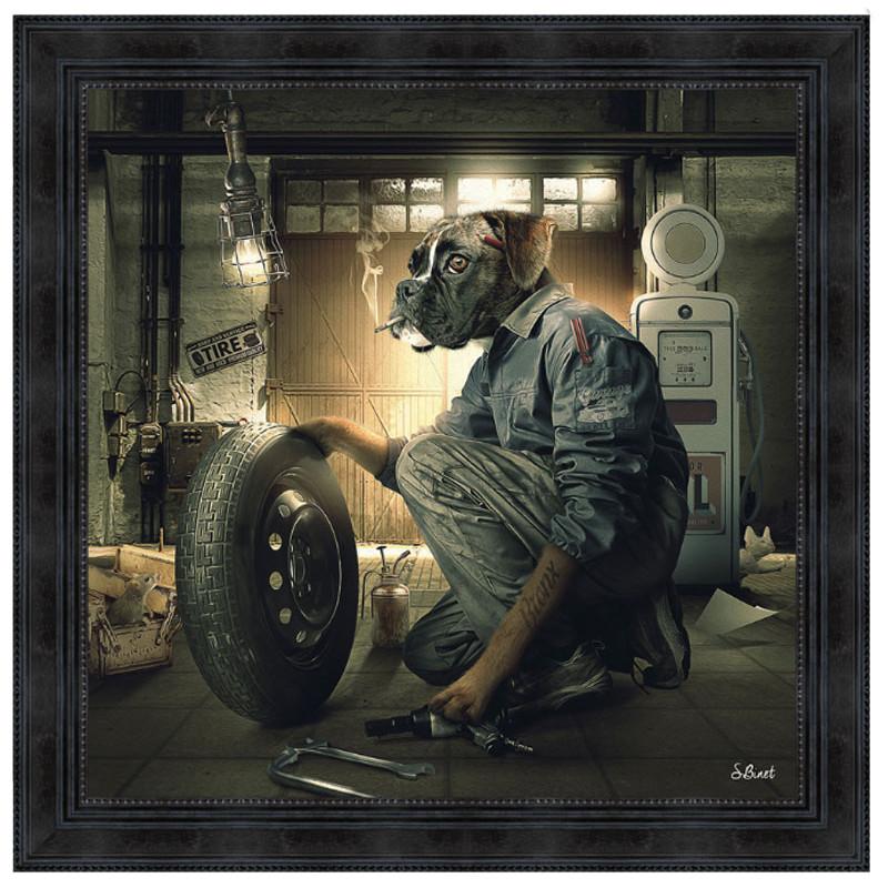 """ Garage Vintage,chien Boxer"", de Sylvain BINET, tableau design 68x68"