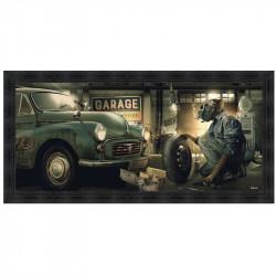 """ Garage vintage "", de Sylvain BINET, tableau design 76x153"