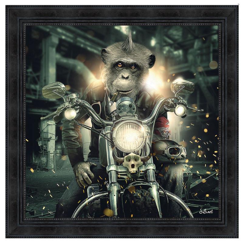 """ Gorille moto "" de Sylvain BINET, Tableau contemporain tendance"