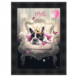 """ Bulldog girly "", de Sylvain BINET, Tableau contemporain 50X70"