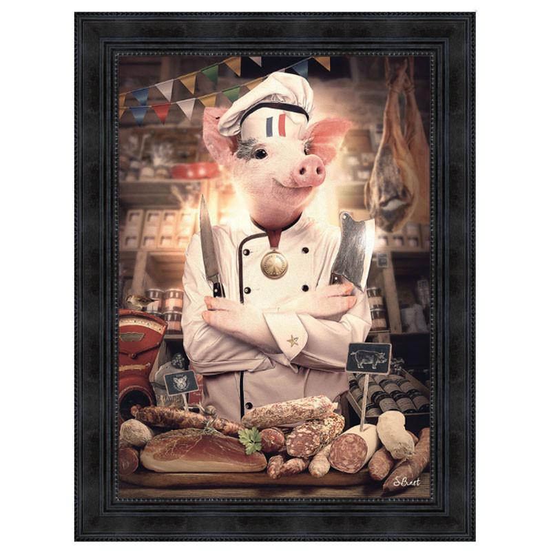 """ Cochon charcutier"", de Sylvain BINET, tableau contemporain 50x70"