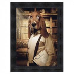 """ Ma vie de chien "", de Sylvain BINET, tableau contemporain 50x70"