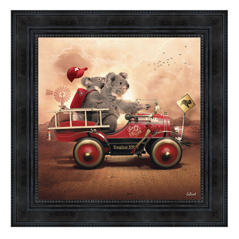 """ KOALA FIRE "", de Sylvain BINET, tableau design 40x40"