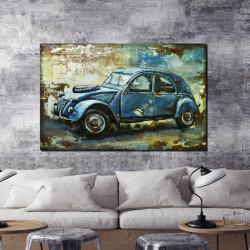 """"""" La 2CV bleue """", Tableau métal 3D vintage 80x120 cm"""