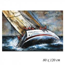 """"""" Voilier skipper """", Tableau métal vintage,80x120 cm"""