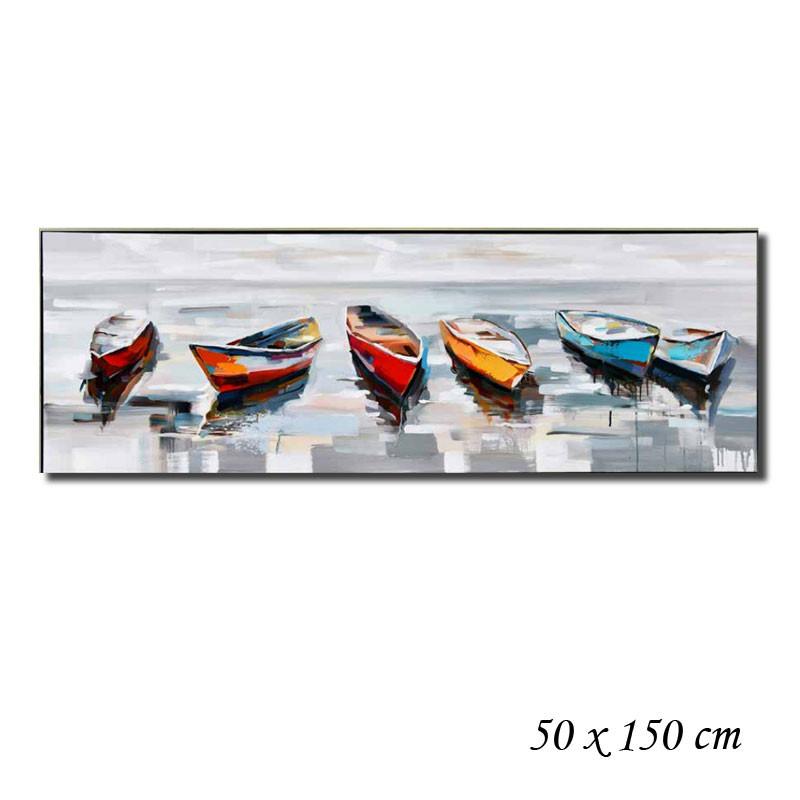 """ Barques multicolores "", tableau contemporain marin"