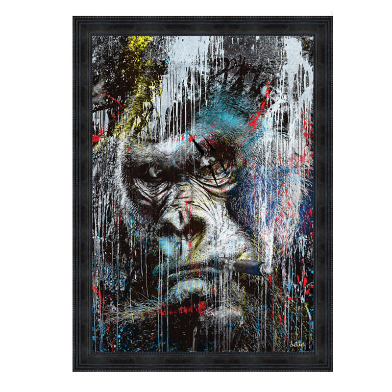 """"""" Gorille Pop """", tableau contemporain par Sylvain BINET, 80x120cm"""