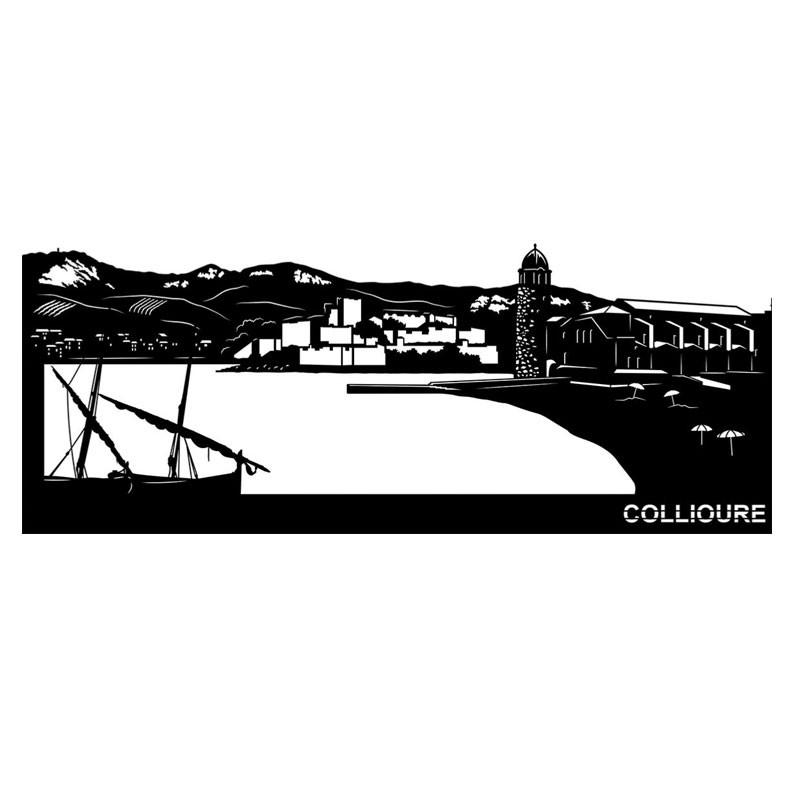 """"""" COLLIOURE """", Skyline 120 cm, décoration murale métal gravé"""