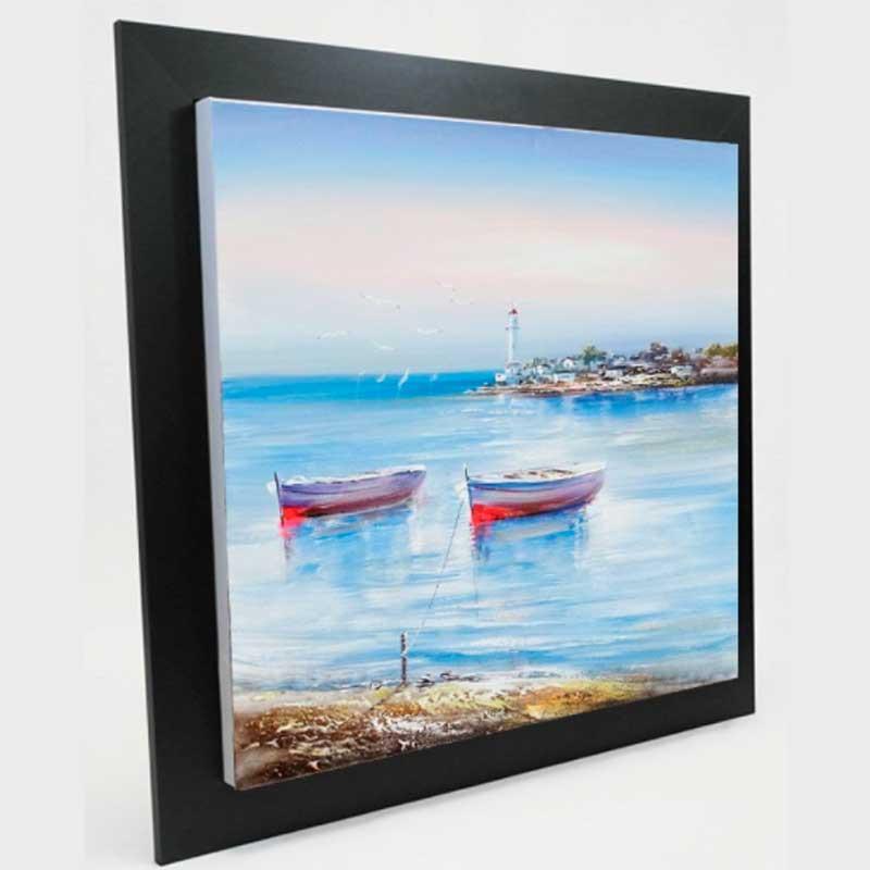 Tableau Paysage Breton et ses barques 60x60 cm.