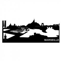 """"""" Marseille """", Skyline, décoration murale métal découpé au laser"""