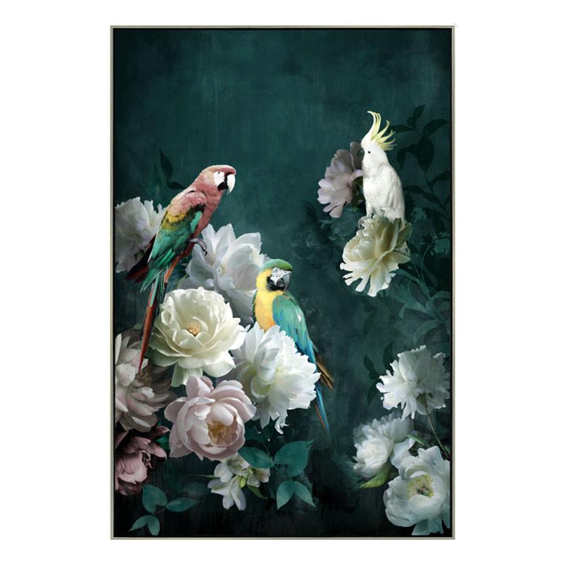 """"""" Perroquets et roses """", Tableau contemporain tropical"""